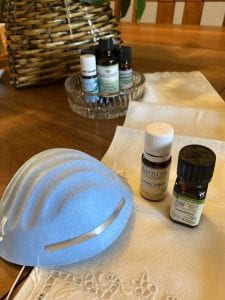 eucalyptus, cinnamon, thyme and lemon essential oil can be applied to face mask