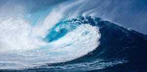 A giant wave: Winter is associated with the Water element in acupuncture theory.